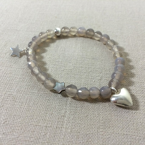 Grey Agate and Sterling Silver Charm Bracelet