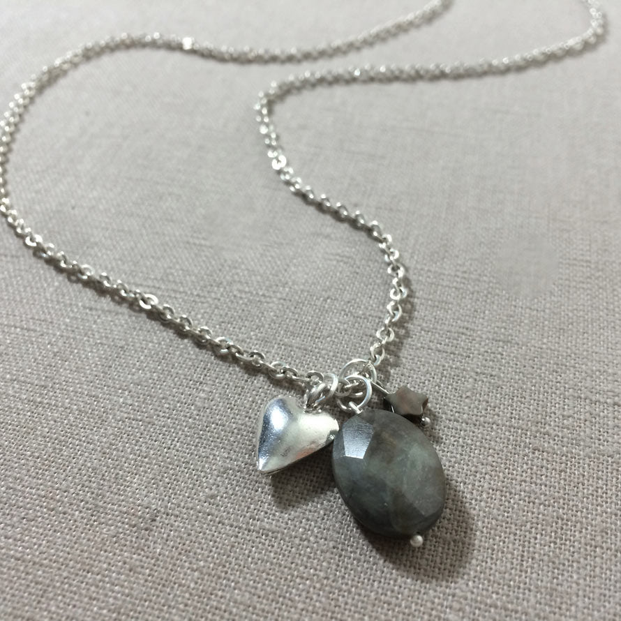 large semi natural stone necklace pendant precious labradorite blue