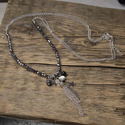 Labradorite and Silver Star Tassel Necklace