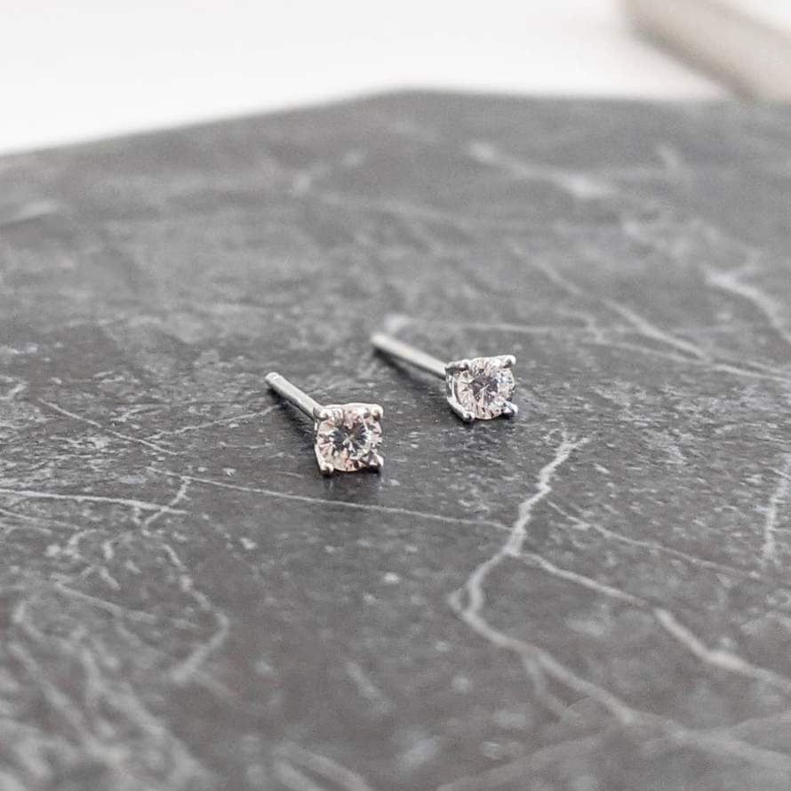 Tiny Crystal Stone Stud Earrings