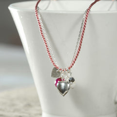 Pink Silk and Heart Charm Necklace