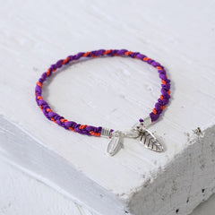 Purple and Coral Silk Friendship Bracelet