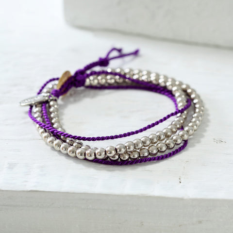 Purple Silk and Bead Wrap Bracelet