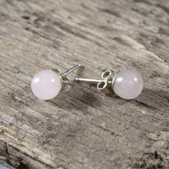 Rose Quartz and Sterling Silver Earring