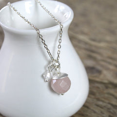 Rose Quartz and Swarovski Crystal Pendant