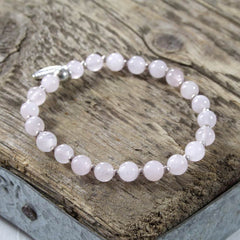 Rose Quartz and Thai Silver Bracelet