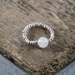 Rose Quartz and Thai Silver Stretch Ring