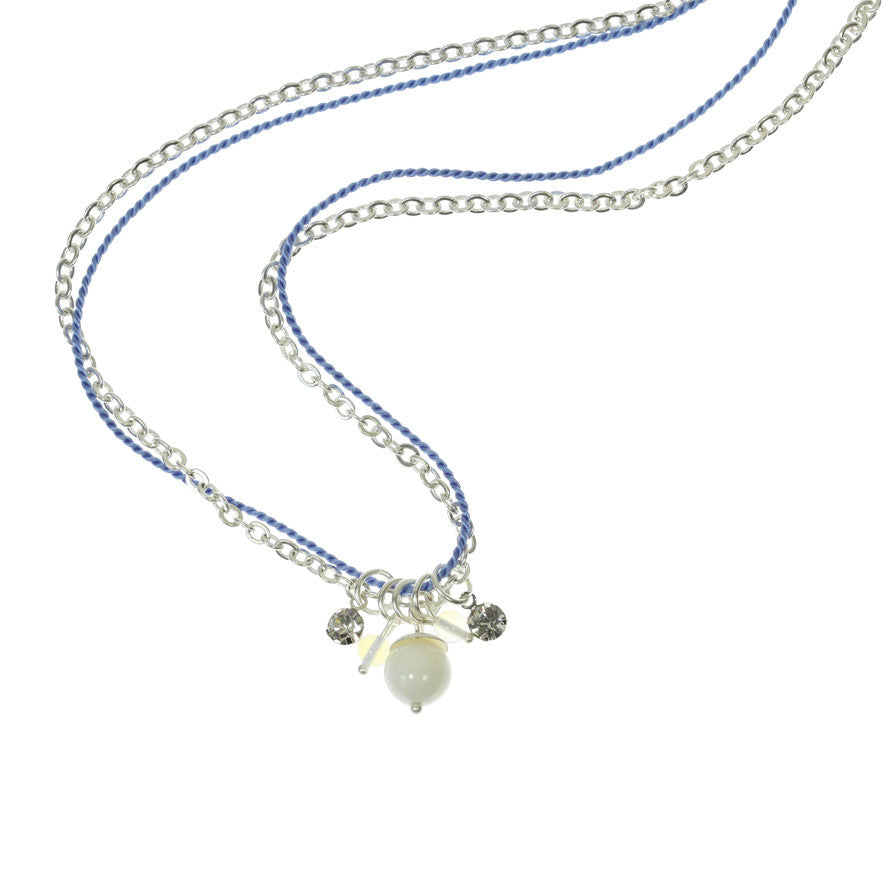 Shell and Blue Silk Charm Necklace