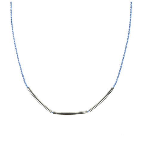 Silver Bar and Blue Silk Necklace