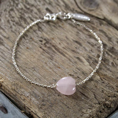 Silver and Rose Quartz Heart Bracelet