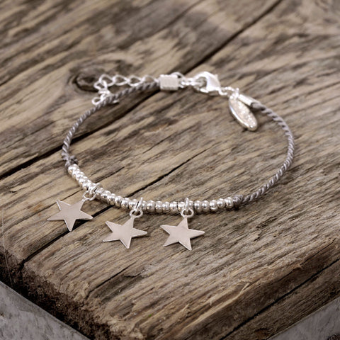 Silver Star and Grey Silk Bracelet