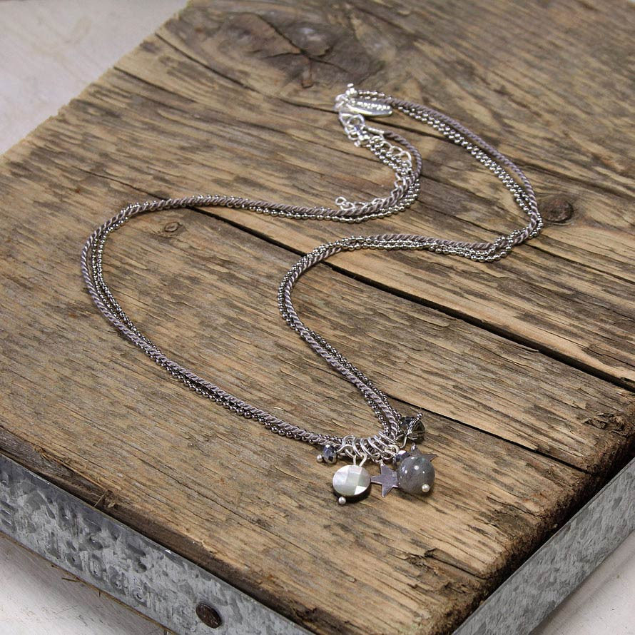 Silver Star and Labradorite Charm Necklace