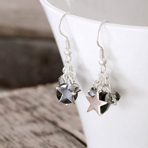 Silver Star and Shell Charm Earring
