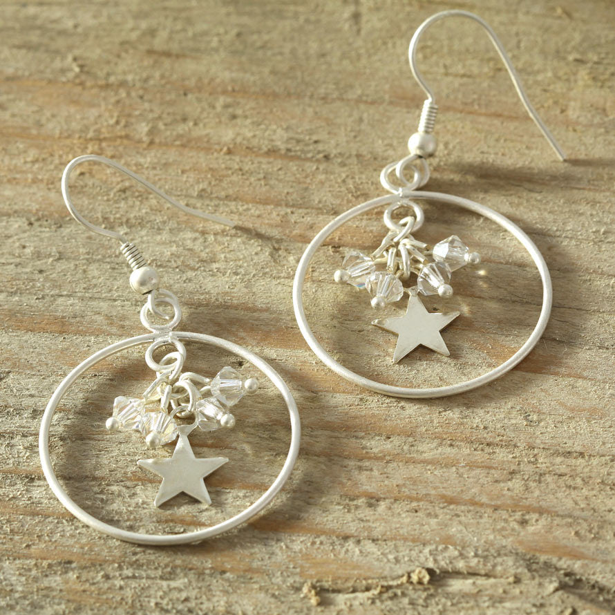Silver Star and Swarovski Hoop Earring