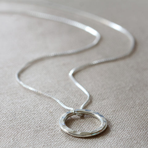 Thai Silver Beaten Loop Necklace