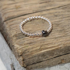 Silver and Hematite Stacking Ring