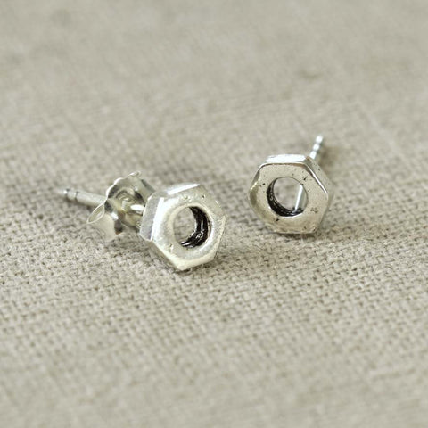 Sterling Silver Hexagon Stud Earring