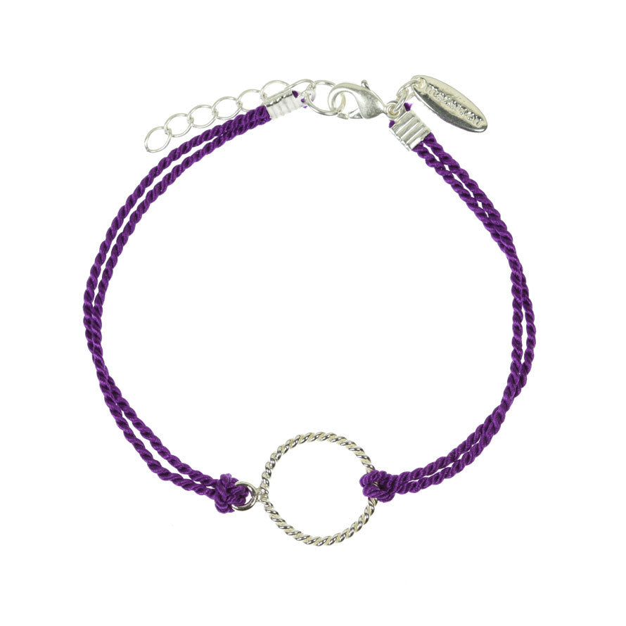 Sterling Silver and Purple Silk Bracelet