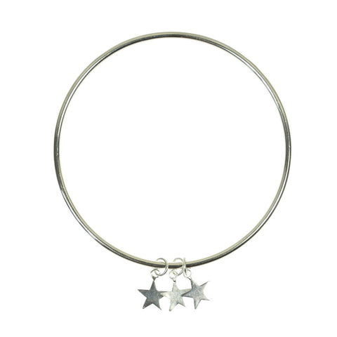 Sterling Silver Triple Star Bangle