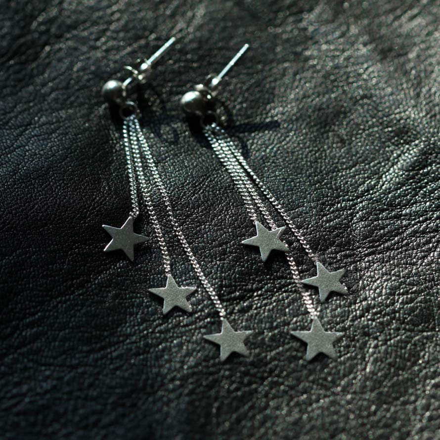 Silver Star and Chain Drop Earring