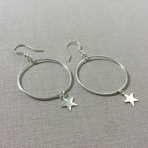Thai Silver Star Hoop Earring
