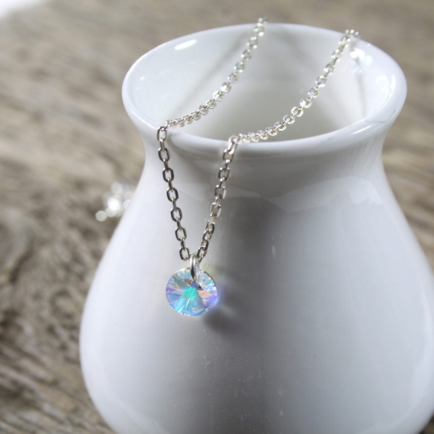 Sterling Silver Swarovski Drop Necklace