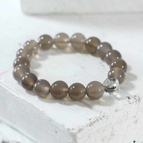 Swarovski and Grey Agate Bracelet
