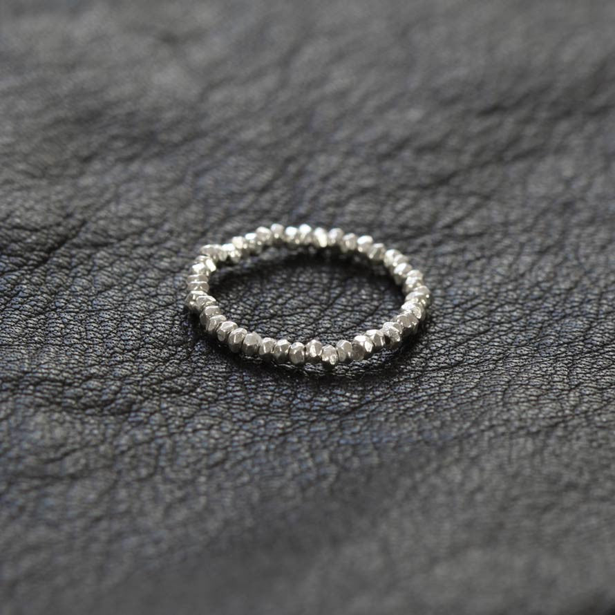 Thai Silver Faceted Bead Stretch Ring