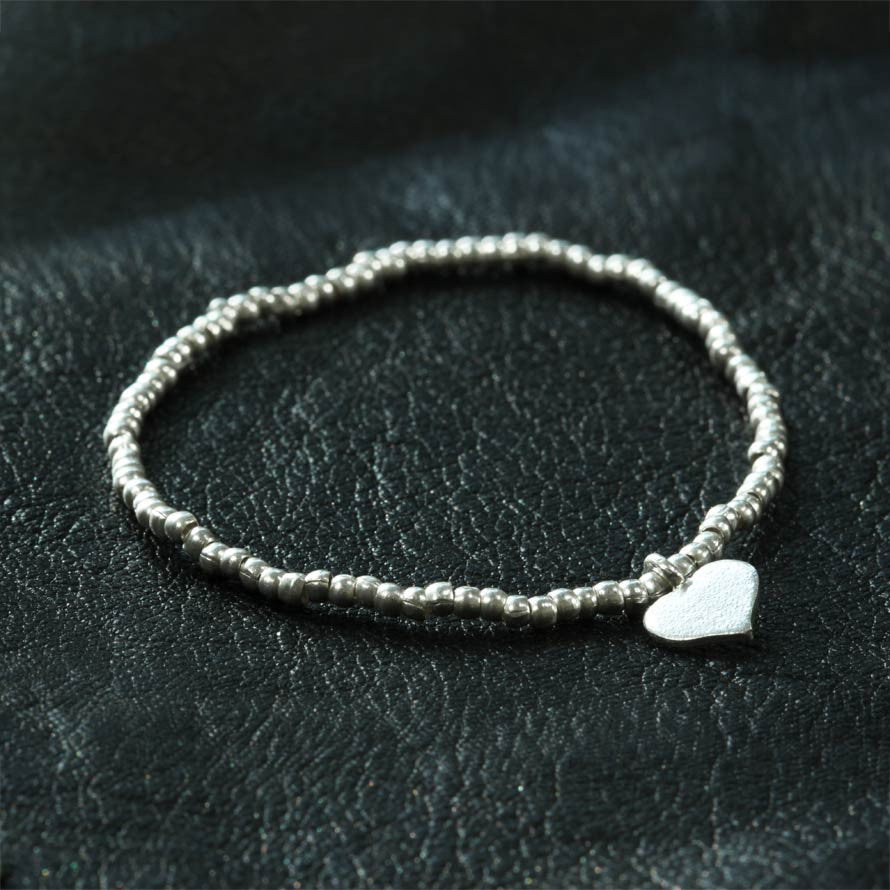 Thai Silver Heart Stretch Bracelet