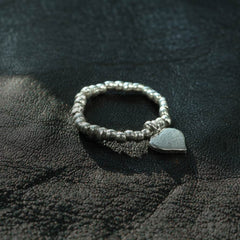 Thai Silver Beaded Heart Stretch Ring
