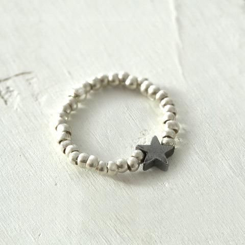 Thai Silver Star Charm Stretch Ring
