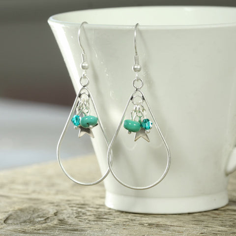 Turquoise and Silver Charm Earring