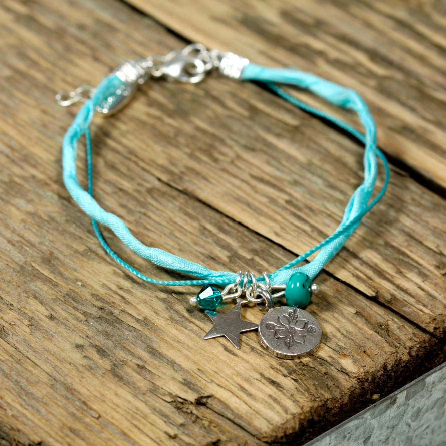 Turquoise and Thai Silver Charm Bracelet