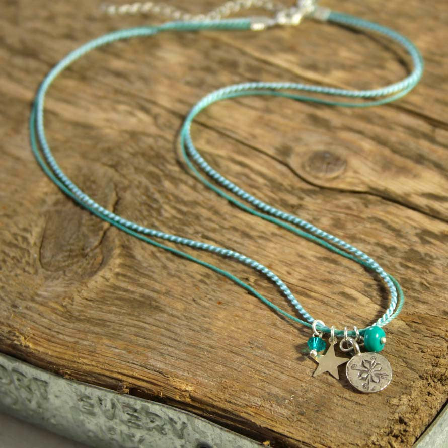 Turquoise and Thai Silver Charm Necklace