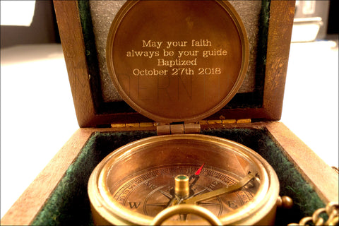Christmas Gift, Baptized, Confirmed,Engraved compass with Plain Wooden box, Baptism, Confirmation Gift, Christening, Christmas gift - ModernTimez Gift
