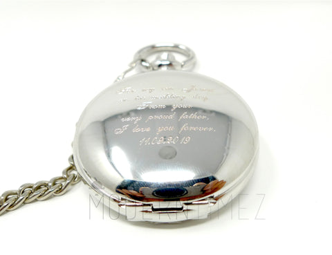 Groomsmen gift, gift for boyfriend,Silver color Wind-up movement Pocket watch, Best-men gift, Father's day gift - ModernTimez Gift