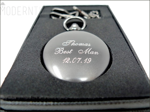 Gunmetal finished Pocket watch Engraving  for Boyfriend Father,Wedding Favor-Best men gift-Valentine's day gifts Christmas gift - ModernTimez Gift
