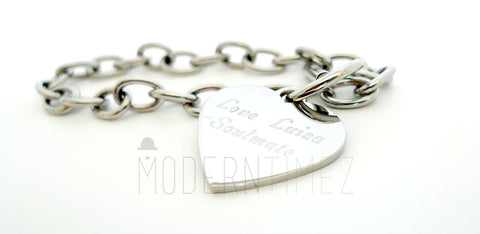 Personalized Engraved Heart Bracelet- gift for Mother's day, Valentines day, birthday gift - ModernTimez Gift