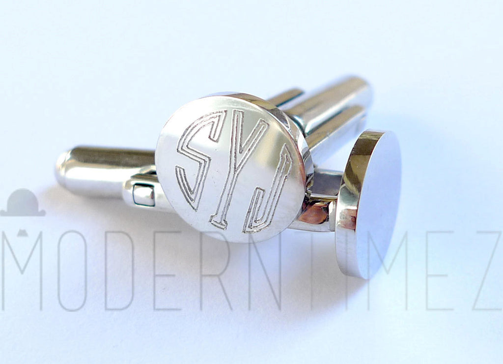 Personalized Cuff-links Round, Wedding Cuff links with Initials engraving  bestman, boyfriend Great Christmas gifts - ModernTimez Gift