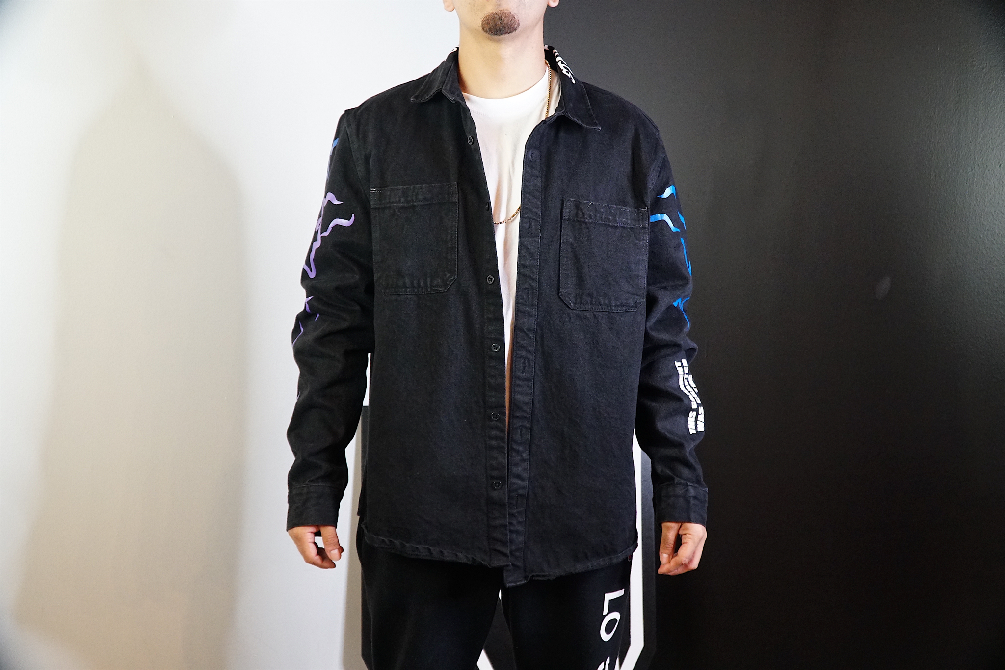 magikusa - STAY DANGEROUS DENIM SHELL - NOIR/ROYAL - DENIM SHELL