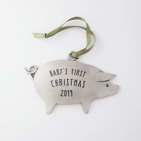 Baby's First Christmas Pig Ornament - 2019