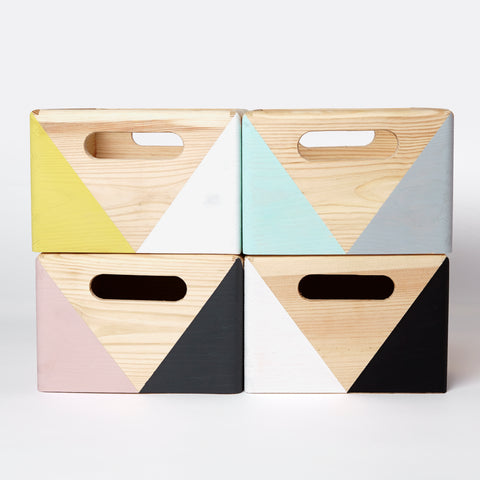 Wooden geometric storage box