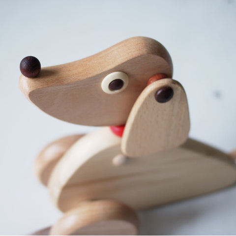 Push along wooden dog toy