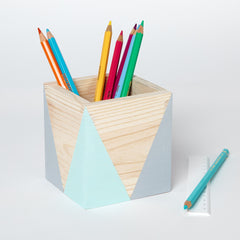 Happy Little Folks geometric wooden pot, pen holder, plant pot