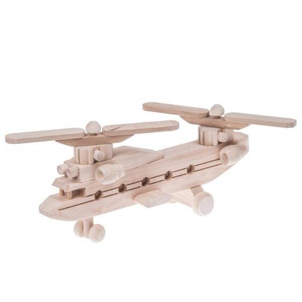 Wooden army helicopter toy