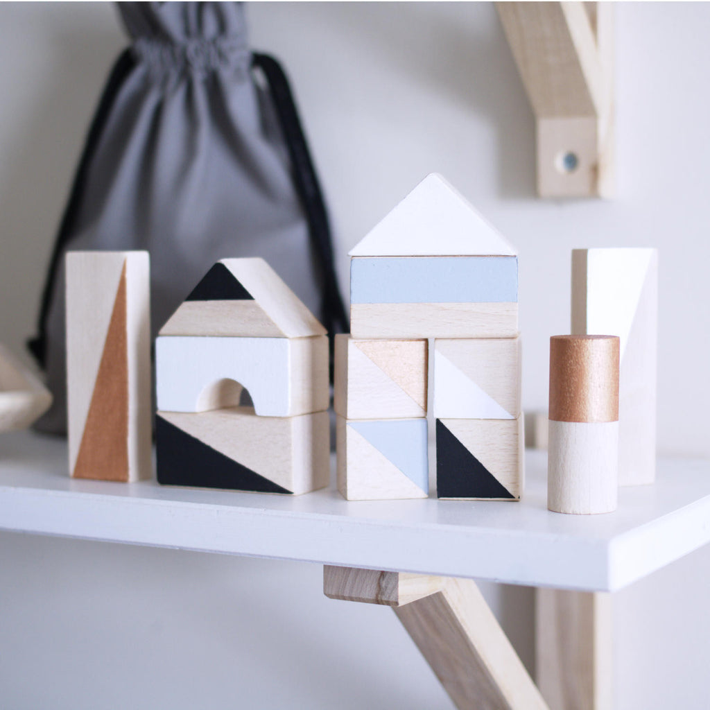 Wooden building blocks - Copper & Monochrome - Happy Little Folks