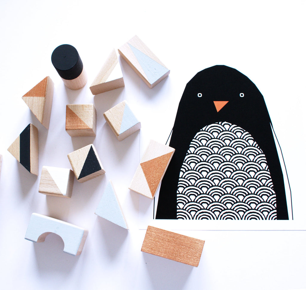 Wooden blocks - Copper+Monochrome - 24 pieces - happylittlefolks - 5