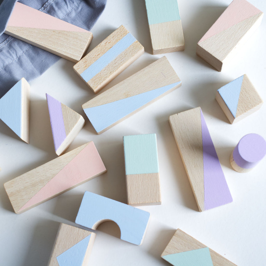 NEW! Wooden blocks in Soft Pastels - 24 pieces