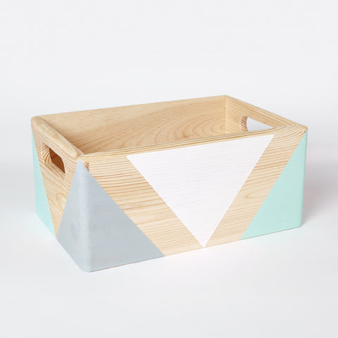 Geometric wooden box with handles - happylittlefolks - 1
