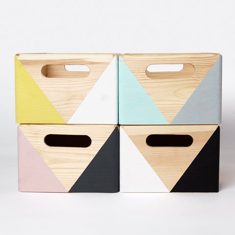 Geometric wooden box with handles - happylittlefolks - 4